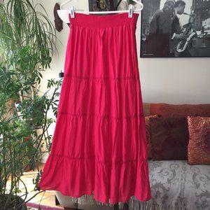 CHICO'S Pink Tiered Maxi Skirt Boho Prairie Gypsy
